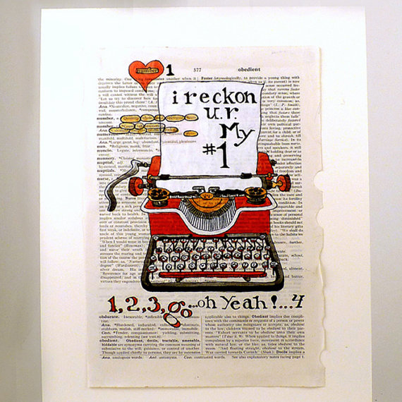 Typewriter Art Watercolor Print Number Graphic Art on by LaBerge