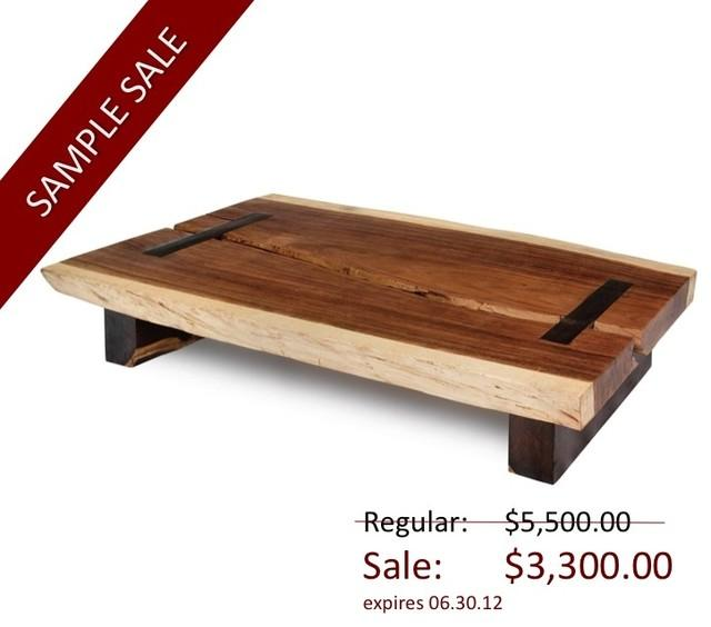 Toco Coffee Table - Solid Natural Edge Wood Slab - contemporary - coffee tables - miami - by Rotsen Furniture