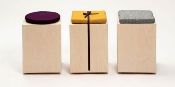 Minimalist Stools Made of A Box and A Cushion which can Serve as a Storage Piece | Furniture Design