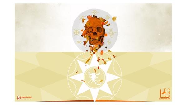 skulls,autumn (season) skulls autumn season leaves zodiac scorpions simple background smashing magazine 2560x1440 wall – Autumn Wallpapers – Free Desktop Wallpapers