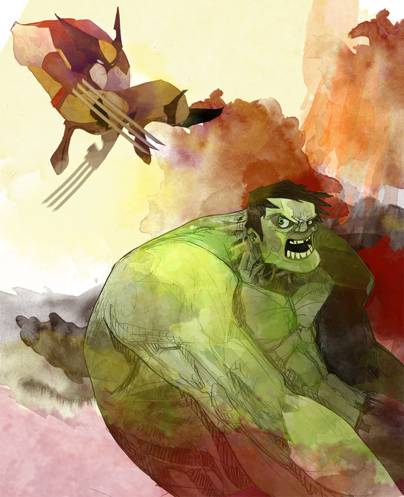 Hulk vs Wolverine by ~dnz85