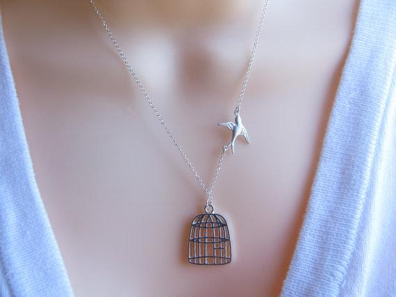 Cage Necklace Be Free Bird Necklace Silver Bird Cage by MonyArt