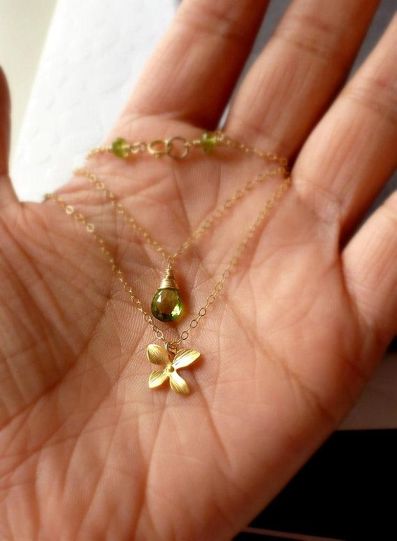 Peridot Orchid Double Strand Necklace 14K by bijouxbydesif