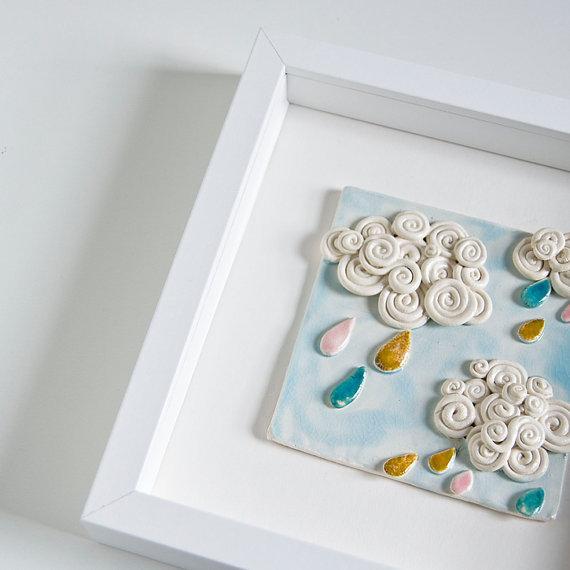 framed ceramic wall art for kids nursery room CURLY by karoArt