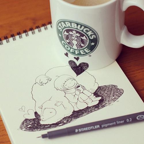 Starbucks Coffee Cup Art by Tomoko Shintani | 1 Design Per Day