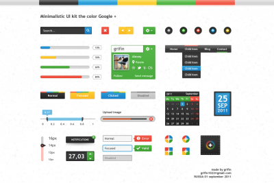 Minimalistic UI kit the color Google + by Alexey - Designmoo