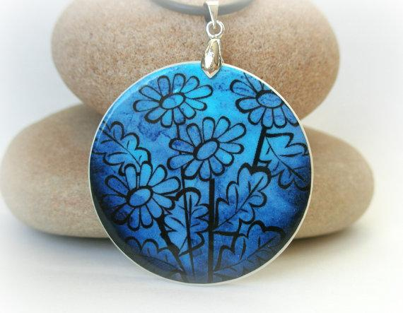 Cobalt blue vector flowers polymer clay necklace by ArtHarmony