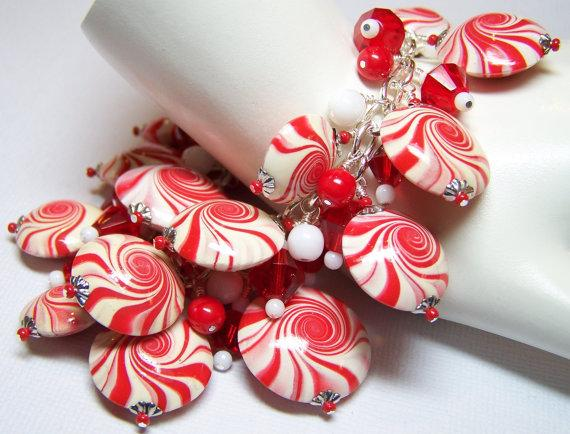 Christmas Bracelet Polymer Clay Christmas Bracelet by Fanceethat