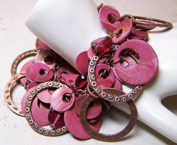 Pink and Copper Bracelet Polymer Clay Bracelet Pink by Fanceethat