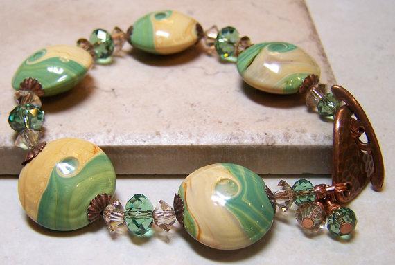 Beach Bracelet Lampwork Bracelet Crystal Bracelet by Fanceethat