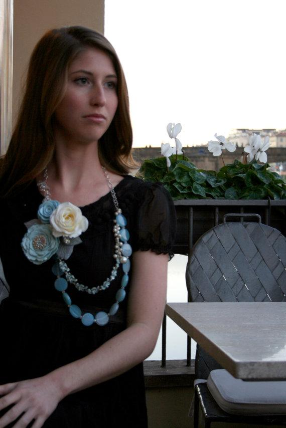 Somthing Blue Blue and Cream Rose Necklace Free by SaraAmrhein