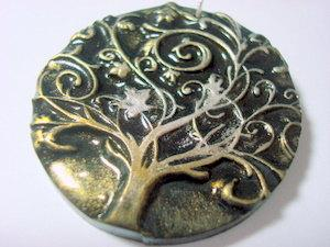 Twirly Tree of Life Handmade Polymer Clay Pendant by PennysLane