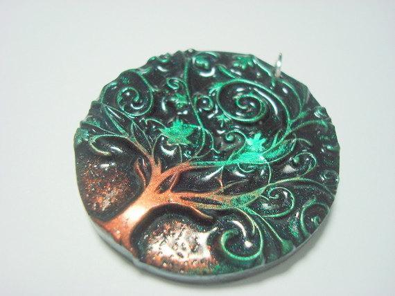 Twirly Green Tree of Life Handmade Polymer Clay by PennysLane