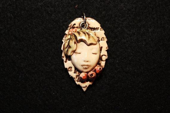 Polymer Clay Christmas Fairy Face Pendant by MoldedMoonbeams