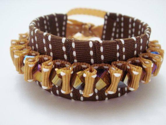 Chocolate and Gold Sparkle Ribbon Cuff by GardenOfBeaden2010