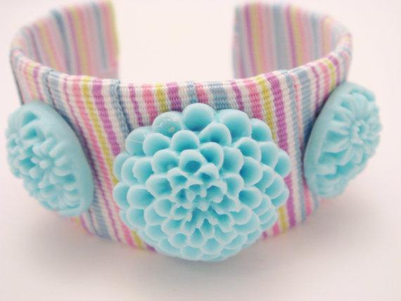 Candy Stripe Ribbon Cuff by GardenOfBeaden2010 on Etsy