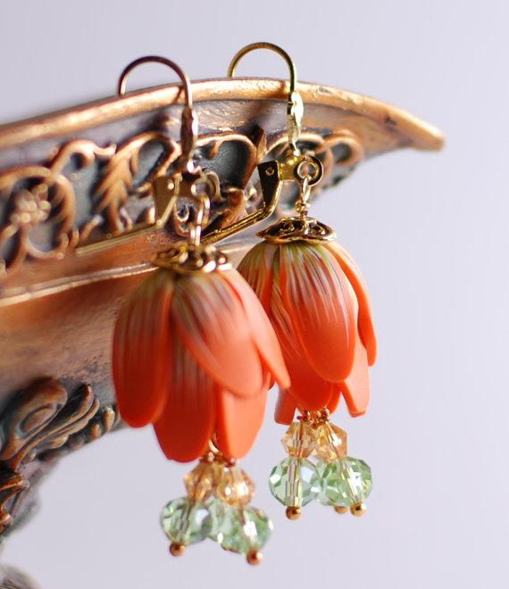 Orange flower polymer clay earrings made to order by Rotdaris