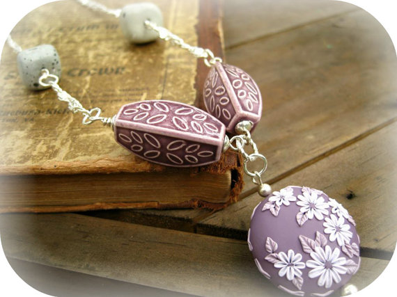 Under 25 Necklace Polymer Clay Flowers by MoobieGraceDesigns