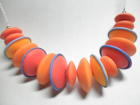 Shades of orange polymer clay necklace with by lmccormickdesigns