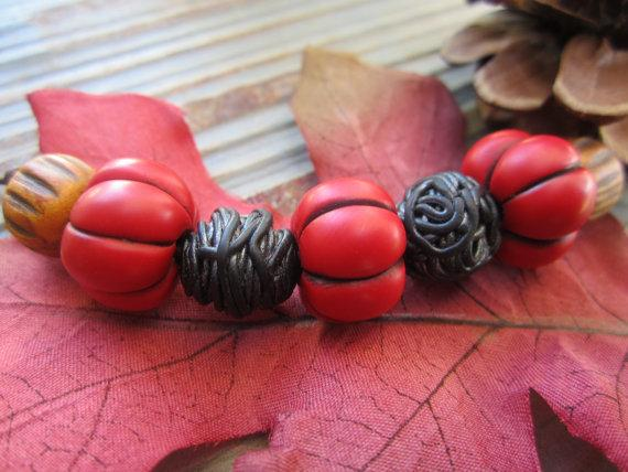 Polymer clay Melon Beads by kimoras on Etsy