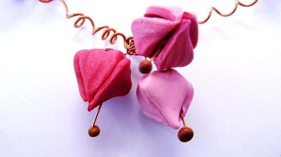 Charming Pink Flower Buds Necklace MADE TO ORDER by SiCreation
