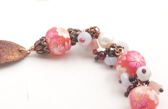 Pink Wire Wrapped Bracelet Gemstones and Copper by hARTjewelry