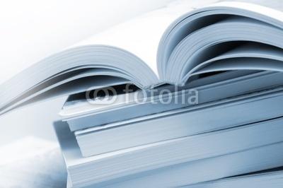 Photo: Stack of brochures in blue toned © felinda #5591039