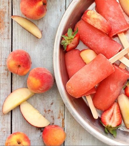 Strawberry Peach Vodka Collins Popsicle Recipe