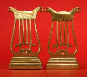 VINTAGE DECO LYRE BOOKENDS MUSICIAN INTEREST | eBay