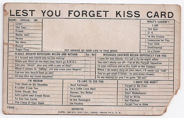 Exhibit Supply Co. kiss card | Flickr - Photo Sharing!