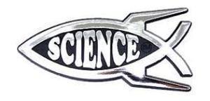 DARWIN FISH evolution SCIENCE rocket car emblem ~ raised chrome plastic NEW
