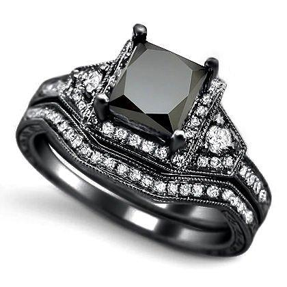 2.0ct Black Princess Cut Diamond Engagement Ring Bridal Set 14k Black Gold: Jewelry: Amazon.com
