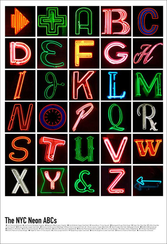 NYC Neon ABCs 13 x 19 Poster by ProjectNeon on Etsy