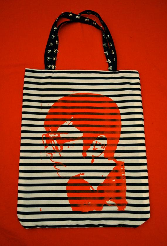 Reversible Screen Printed Cotton Tote Bag Renee by reneegoust