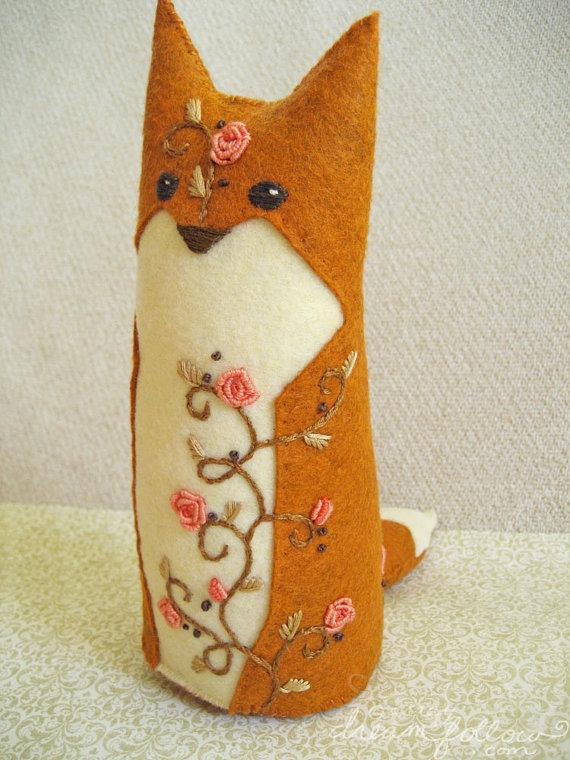 Briar Rose One of a Kind embroidered Fox Plush by littledear