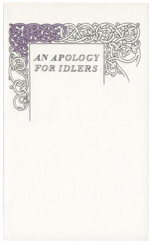 The Book Cover Archive: An Apology for Idlers, design by David Pearson