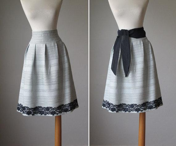 Circle skirt / Pale / Sage / Silk and Linen / by AtelierSignature