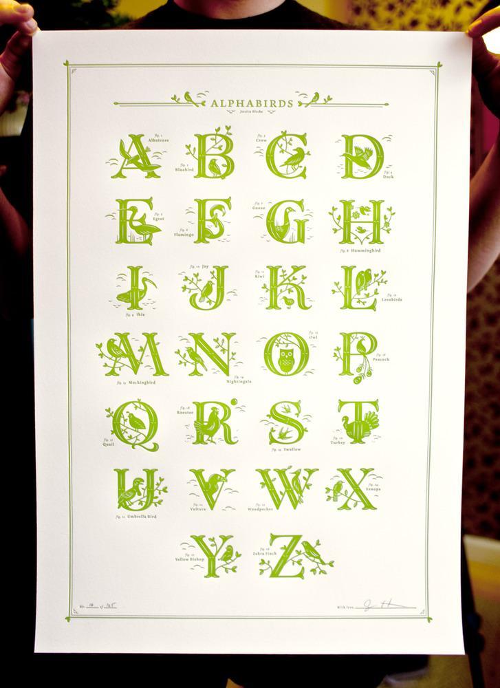 Jessica Hische — Alphabirds Print