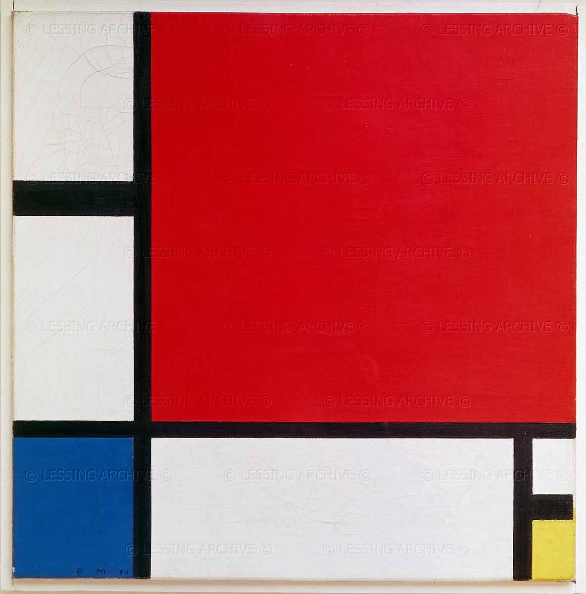 Lessing Photo Archive - Mondrian,Piet. Composition with red,blue and yellow.