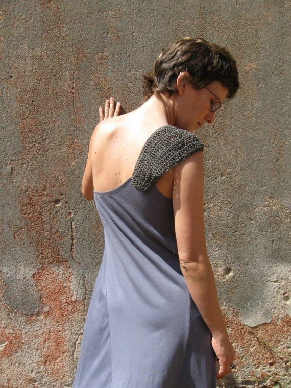 Asymmetrical Dress With Crochetted Shoulder by duende74 on Etsy