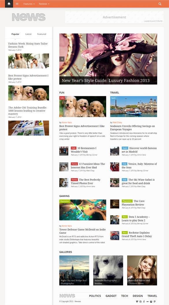 Newses, Premium WordPress Left Sidebar Retina Theme | WP Download
