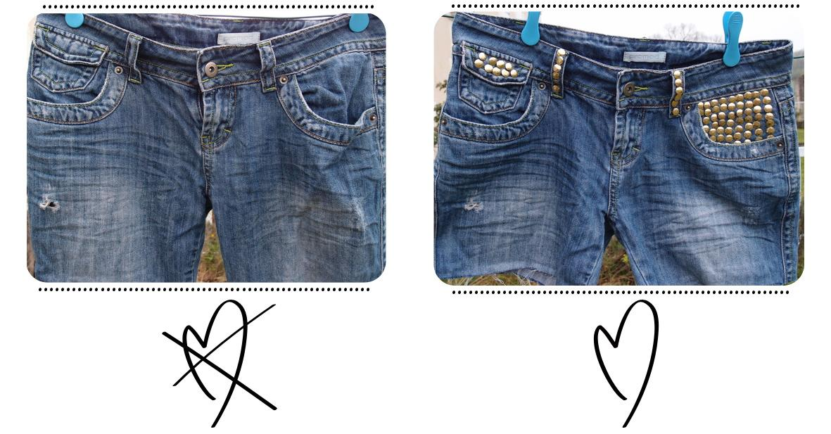 DIY Studded Denim Shorts -