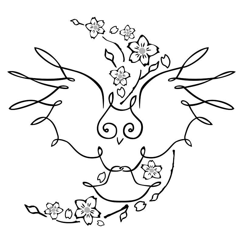 owl-and-cherry-moon-tattoo.jpg (800×800)