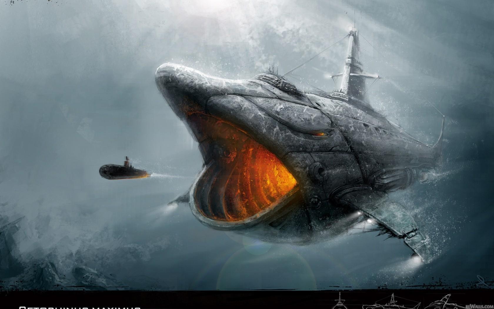 Ocean battle submarine underwater whale wallpaper 1515803