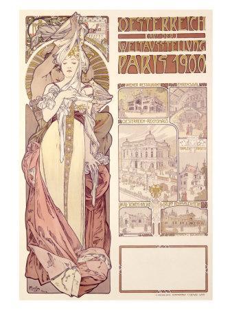 Osterreich, Paris, 1900 reproduction procédé giclée par Alphonse Mucha sur AllPosters.fr