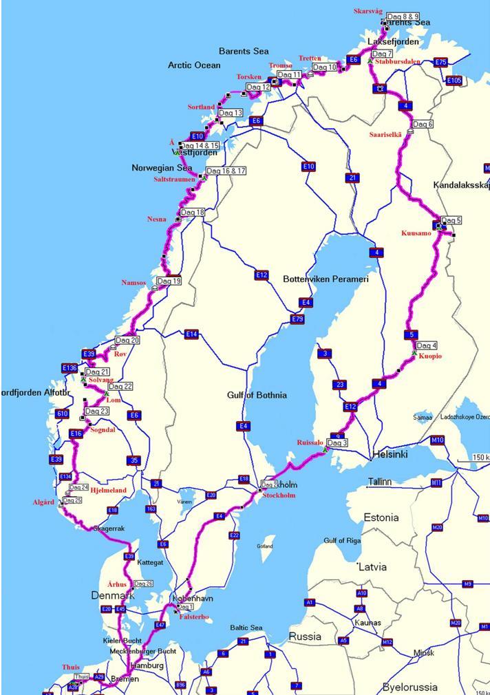 Onderweg naar boven - Noordkaap 2007