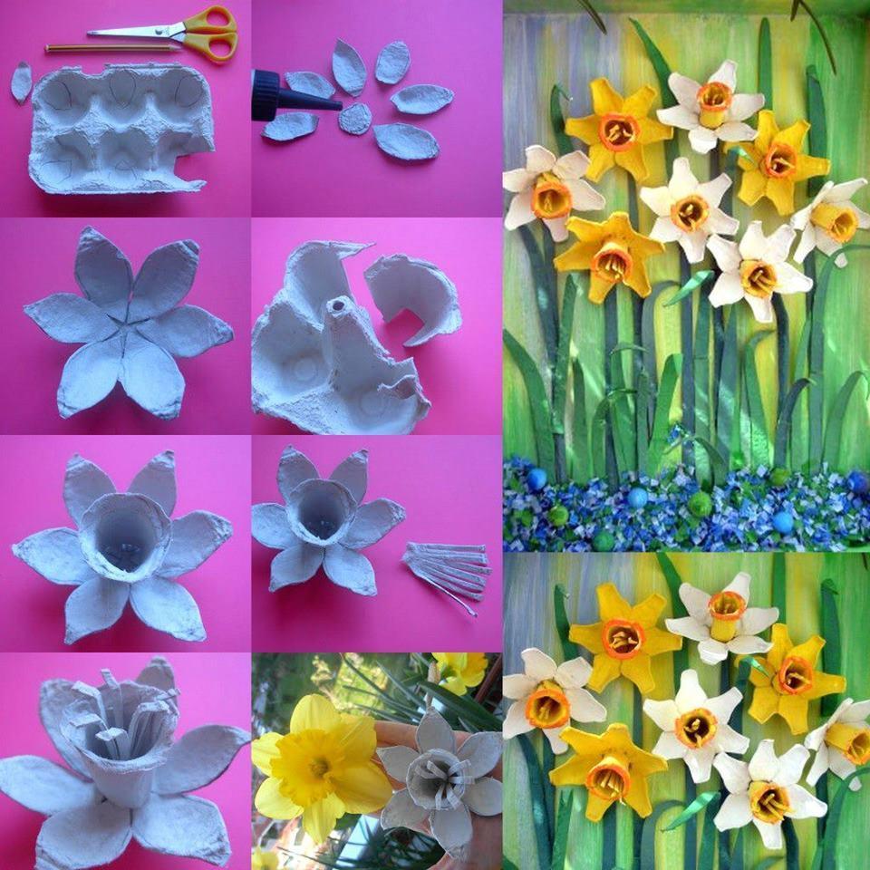 Цветы из яичных коробок своими руками