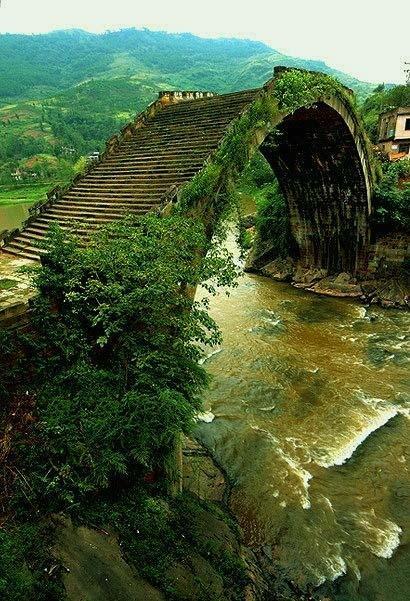 Blue Pueblo, Moon Bridge, Hunan, China photo via julie