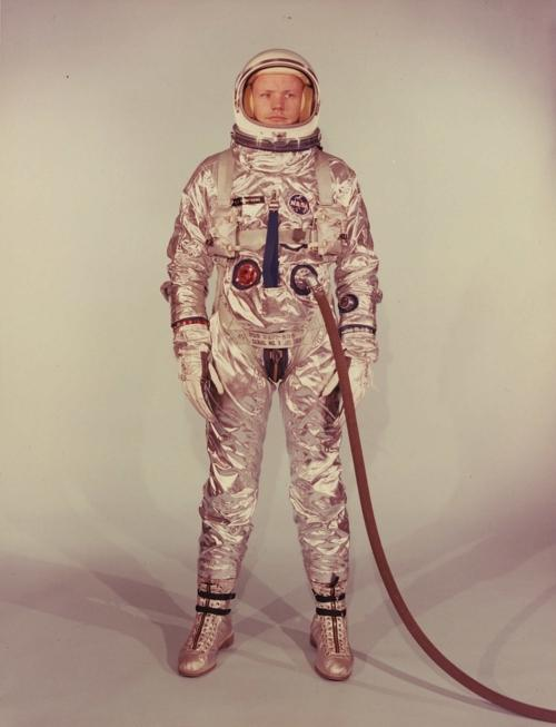 Neil Armstrong in his Gemini 8 spacesuit (1966).