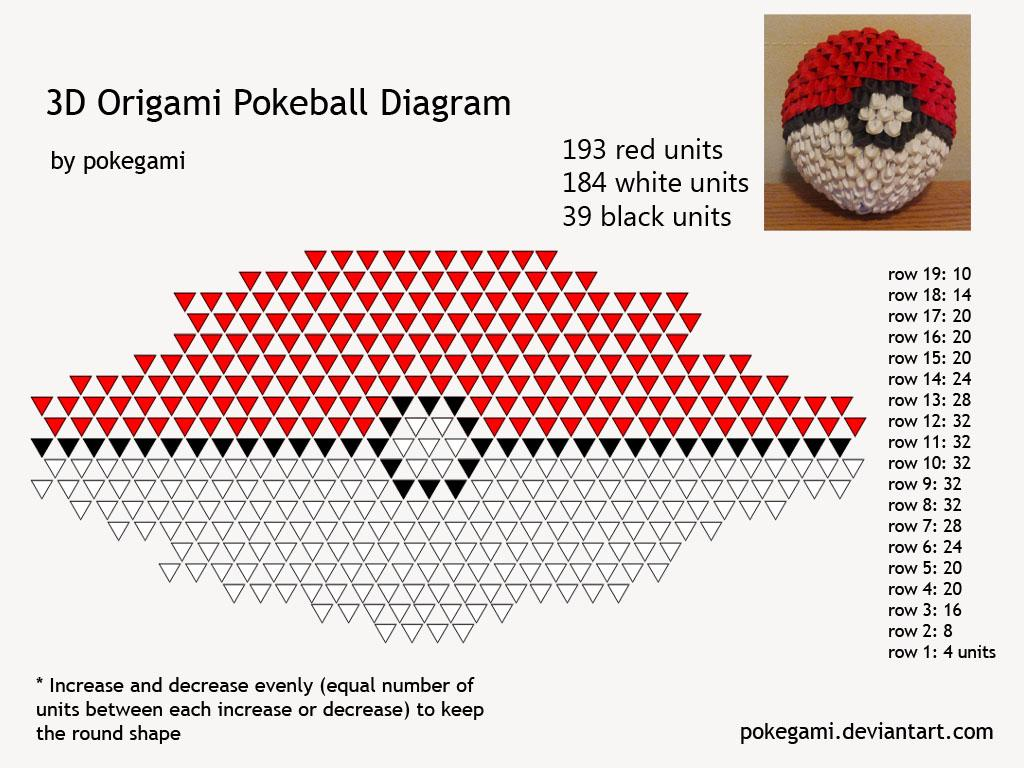3D Origami Pokeball Folding Instructions  Origami Instruction Origami Paper Ball Instructions